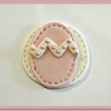 Sweet little Light Pink Fondant Easter Egg Cupcake Toppers. Set of 12 (one dozen)