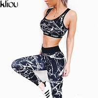 Kliou 2017 Brand Tracksuit Women Track Suits Painting Print STRONGER Crop Top and Pants 2 Two Piece Set fitness Sweatsuit Set
