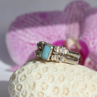 Larimar and Dominican Red Amber Cubic Zirconia Ring Multi-stone Sterling Silver Flip 2 way reversible genuine stone 8.5 OOAK
