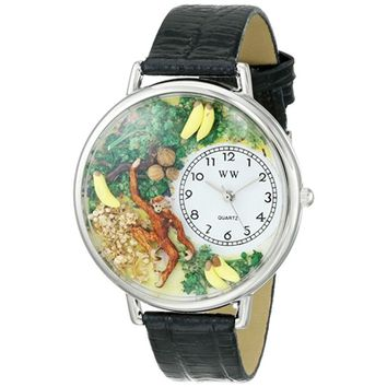 SheilaShrubs.com: Unisex Monkey Black Skin Leather Watch U-0150008 by Whimsical Watches: Watches