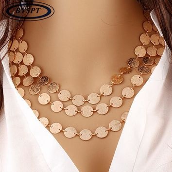 Coins, Leaves, Triangle Bar Chokers Statement Necklace