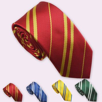 Harry P Tie Gryffindor Slytherin Ravenclaw Hufflepuff Children's College Ties Halloween Party School Christmas Show Badge Tie