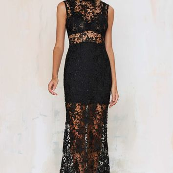 Lovecat Lace-Up Your Life Sheer Dress - Black
