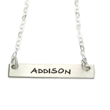 Name Plate Bar Necklace, Sterling Silver