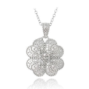 Sterling Silver 1/10ct Diamond Clover Necklace