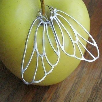 White Gold Butterfly Wing Earrings Bridesmaid by DanaCastle