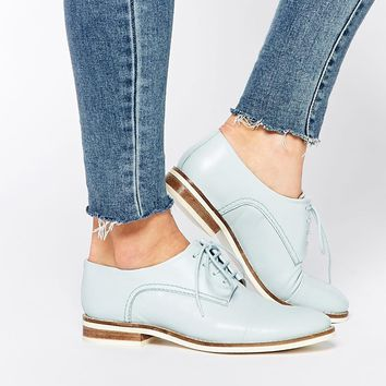 Lost Ink Lilly Leather Lace Up Flat Shoes at asos.com