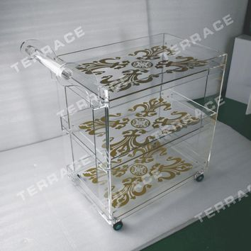 Rolling clear acrylic food trolleys ,Lucite perspex serving bar carts