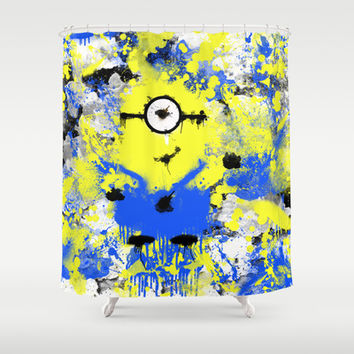 Splatter Painted Minion  Shower Curtain by Trinity Bennett