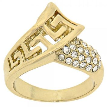 Gold Layered Mult-stone Ring, Greek Key Design, with Crystal, Gold Tone