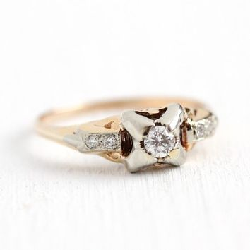 Vintage Engagement Ring - 14k Rosy Yellow & White Gold .18 ctw Diamond Wedding - Size 5 Art Deco 1930s Shoulder Gems Fine Two Tone Jewelry