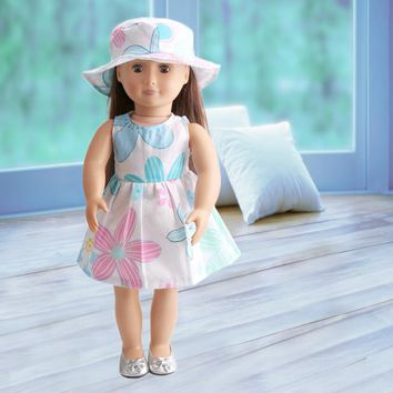 2017 Fashion 18 Inch American Girl Doll Clothes Children's Home Game Dress Up Doll Color Flower Skirt & Hat Suit ingbaby WJ1087