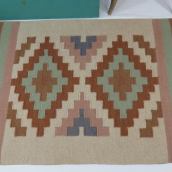Southwestern Hand Woven Wool Rug Blues Browns Tan Vintage Wall Hanging