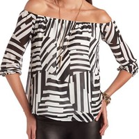 Off-the-Shoulder Printed Top: Charlotte Russe