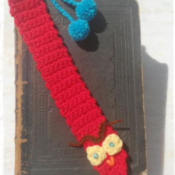 BOOKMARK owl red -handmade crochet with owl applique and two pompoms