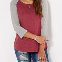 Burgundy & Gray Thermal Baseball Tee | Long Sleeve | rue21