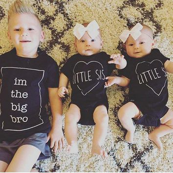 Little and Big Brother Family Matching Clothes Kids Newborn Baby Boys Bodysuit Big Brother T-shirt Tops Outfits Family Set boys