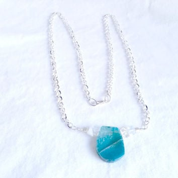 Long Silver Necklace, Blue Silver and White Pendant, Agate & Moonstone Handmade Neckalce, Free Shipping