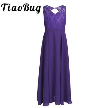 TiaoBug Girls Kids Summer Tulle Lace Tutu Dress Formal Party Pageant and Wedding Bridesmaid Floral Girl Floor Length Long Dress