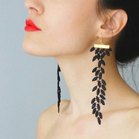 EARRINGS // Galeo // Handmade Statement Lace Earrings - Black - Dangling Dangle Leaf Leaves Venise Lace