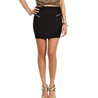 Black Double Side Zipper Skirt