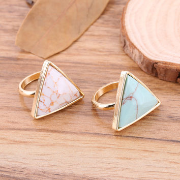 Marble PrePiece Fashion Triangle Shaped Blue Turquoise Wedding Ring Retro Punk Natural Stone Gold Plated for Women Fine Jewelry