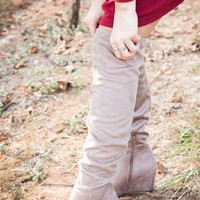 DCK7YE Over The Knee Wedge Boot, Grey | Chinese Laundry