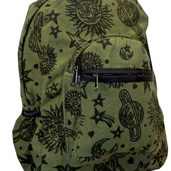 Sun Moon Planets and Stars Celestial Hippie Boho Astrological Backpack