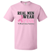 Real Men Wear Pink Humorous Breast Cancer T-Shirt