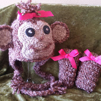 Girl Chimpanzee Monkey Hat and Leggings Set Ready to Ship size 0-3 months