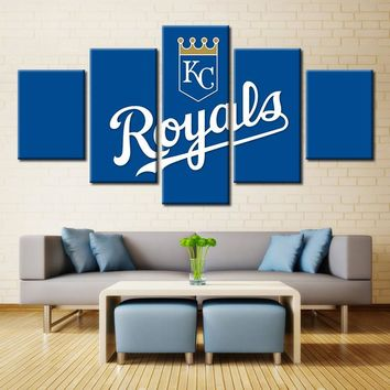 5 Panel KC Royals World Series Wall Art Picture Modern Home Decoration Living Room Or Bedroom Canvas Print Painting Wall Picture