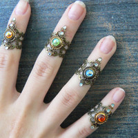 midi rings knuckle ring armor ring nail ring claw ring PICK 1  finger tip ring trending vampire goth victorian moon goddess pagan boho gypsy