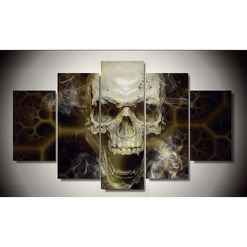 Abstract Smoking Skull Smoke Wall Art Canvas Panel Print Picture Living Room