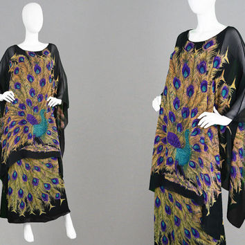 Vintage 70s Hippie Dress Draped Dress Black Chiffon Overlay Kaftan Dress Peacock Print Oriental Dress Asian Style Kimono Sleeve Evening Gown