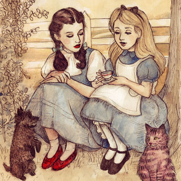 Dorothy and Alice Stretched Canvas by Helen Green