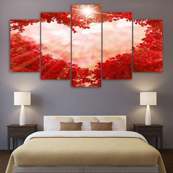 5 LOVE Panel Canvas Wall Art Picture Poster Print Pink Heart Red Maple Forest