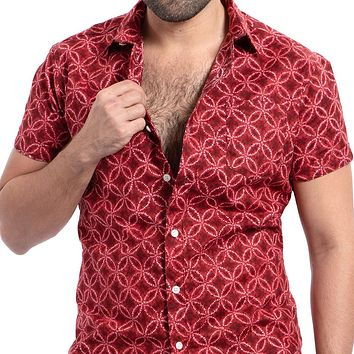 Tie Dye Inspired Red Japanese Floral Print Shirt - Martin