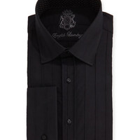 Raised Tonal Striped Dress Shirt, Black