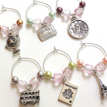 Travel Wine Glass Charms- Set of 6 Travel Wine Charms with Light Pink Beads, Pastel Pearls, World Traveler
