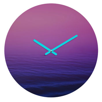 Leah Flores Sunset Waves Round Clock