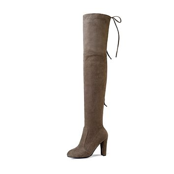 Suede Tall Boots Winter Shoes for Woman 8711