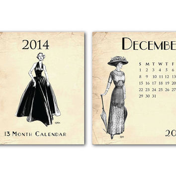 2014 Desk Calendar - Vintage Fashion on Vintage Background - 13 Month - Jewel Case - December 2013 - December 2014