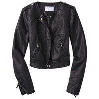 Xhilaration® Junior's Quilted Faux Leather Jacket -Black