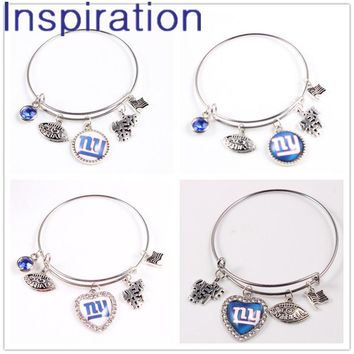 1.6mm Expandable Wire Charm Bangle Bracelet For USA Football Fans With 5 Charms Dangle New York Giants Charm Bracelets 4pcs/lot