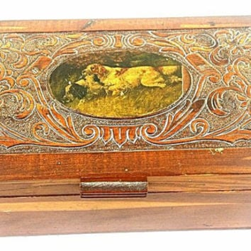 BOX Carved Wood Inlay Storage Box Vintage Case Jewelry Box Wooden Terrier Carved