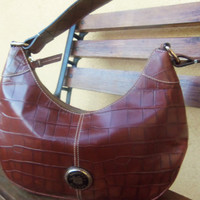 ON SALE!!! - Gorgeous Authentic Vintage '90's Dooney & Bourke Purse - Moc Croc Brown Hobo - Reduced from 70.00 - NOW 55.00