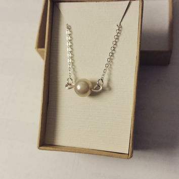 Single Pearl Necklace,One Pearl Necklace, Gift for her, Bridesmaid necklace, Pearls necklace