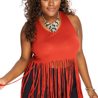 Rust Sleeveless Fringe Plus Size Top