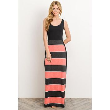 Criss Cross Back Maxi Dress - Coral