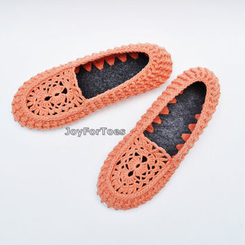 Cadmium Orange Crochet Slippers Outdoor Flats Slip Ons Loafers Lace Moccasins Shoes Woman Summer celebrations Joyfortoes Made to order